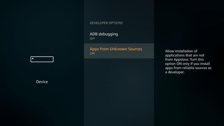 enable unknown app option on firestick